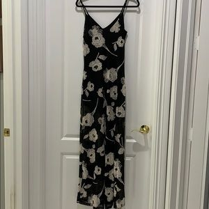 Black white floral lace maxi dress